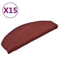 vidaXL Tapis de marches d'escalier 15 pcs Rouge 65x24x4 cm