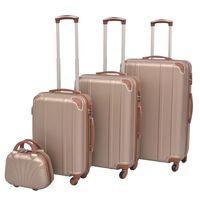 vidaXL Ensemble de valises à roulettes quatre pièces Champagne