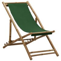 vidaXL Chaise de terrasse Bambou et toile Vert
