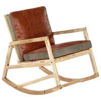 vidaXL Chaise à bascule Marron Cuir véritable et manguier massif