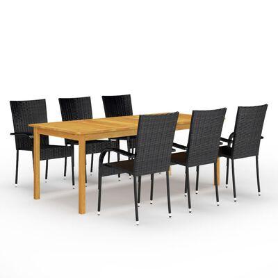 vidaXL Ensemble de salle à manger de jardin 9 pcs Noir
