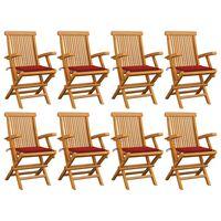 vidaXL Chaises de jardin avec coussins rouge 8 pcs Teck massif