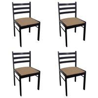 vidaXL Chaises de salle à manger 4 pcs Marron Hévéa solide et velours