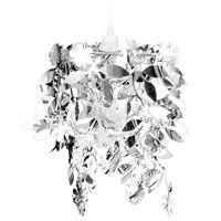 vidaXL Lustre suspendu à feuilles paillette 21,5 x 30 cm Argenté