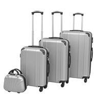 vidaXL Ensemble de valises à roulettes quatre pièces Argenté