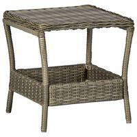 vidaXL Table de jardin Marron 45x45x46,5 cm Résine tressée
