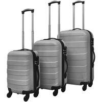 vidaXL Jeu de valises rigides 3 pièces Argenté