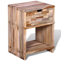 vidaXL Table de chevet avec tiroir Bois de teck recyclé