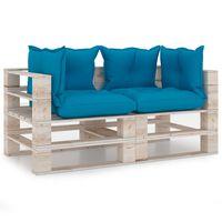 vidaXL Canapé palette à 2 places de jardin avec coussins Bois de pin