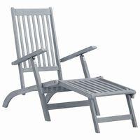 vidaXL Chaise longue d'extérieur avec repose-pied Délavage gris Acacia