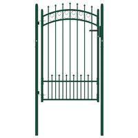 vidaXL Portail de clôture avec pointes Acier 100x150 cm Vert