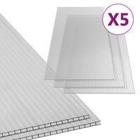 vidaXL Feuilles de polycarbonate 5 pcs 6 mm 150x65 cm