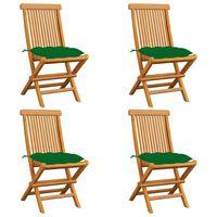 vidaXL Chaises de jardin avec coussins vert 4 pcs Bois de teck massif