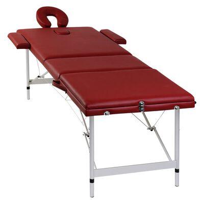 vidaXL Table pliable de massage Rouge 3 zones avec cadre en aluminium