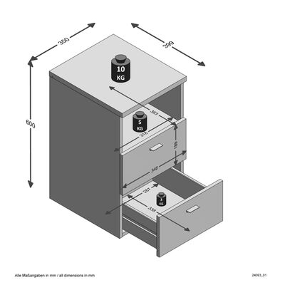FMD Table de chevet avec 2 tiroirs Blanc brillant