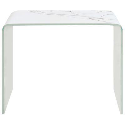 vidaXL Table basse Blanc Marbre 50 x 50 x 45 cm Verre trempé