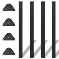 vidaXL Pied de table réglable en hauteur 4 pcs 870 mm Noir