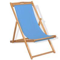 vidaXL Chaise de terrasse Teck 56 x 105 x 96 cm Bleu