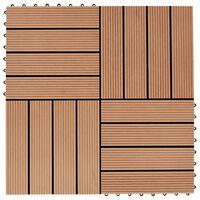 vidaXL Carreau de terrasse 11 pcs WPC 30 x 30 cm 1 m² Couleur Teck