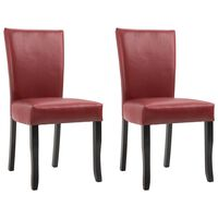 vidaXL 2 pcs Chaises de salle à manger Rouge bordeaux Similicuir
