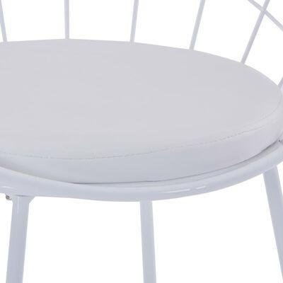vidaXL Chaises de salle à manger Siège en similicuir 2 pcs Blanc Acier
