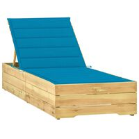 vidaXL Chaise longue avec coussin bleu Bois de pin imprégné