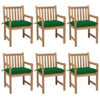 vidaXL Chaises de jardin 6 pcs avec coussins vert Bois de teck solide