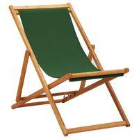 vidaXL Chaise pliable de plage Bois d'eucalyptus et tissu Vert