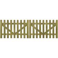 vidaXL Portail de clôture à piquets 2 pcs Bois imprégné 300x100 cm