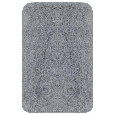 vidaXL Jeu de tapis de salle de bain 3 pcs Tissu Gris