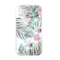Coque mobile antichoc avec support pour iPhone XR - blanche / fleurs