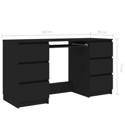 vidaXL Bureau Noir 140x50x77 cm Aggloméré