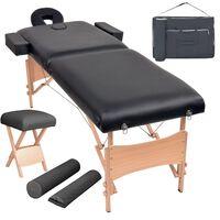 vidaXL Table de massage pliable et tabouret 10 cm d'épaisseur Noir