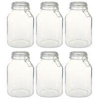 vidaXL Pots en verre avec serrure 6 pcs 3 L