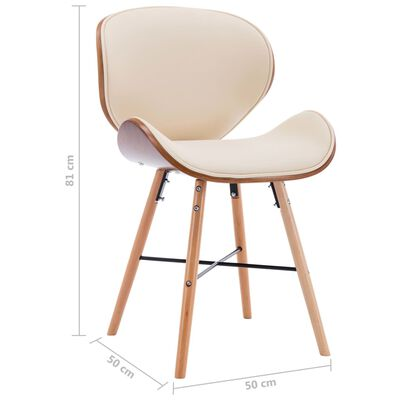 vidaXL Chaises de salle à manger 4 pcs Crème Similicuir et bois courbé