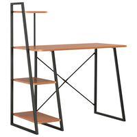 vidaXL Bureau avec étagère Noir et marron 102x50x117 cm