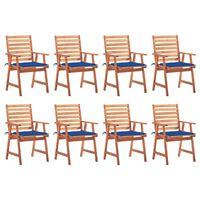 vidaXL Chaises à dîner d'extérieur 8 pcs avec coussins Acacia massif