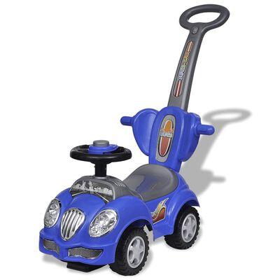Voiture enfant à chevaucher bleu avec manche de poussée