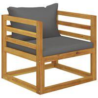 vidaXL Chaise de jardin avec coussins gris foncé Bois d'acacia massif