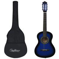 """vidaXL Jeu de guitare classique pour débutants 8 pcs Bleu 1/2 34"""""""