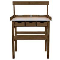 Esschert Design Table de rempotage avec tiroir et étagère Marron
