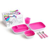 Munchkin Ensemble de vaisselle à manger 7 pcs Color Me Hungry Rose