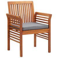 vidaXL Chaise à dîner de jardin avec coussin Bois d'acacia massif
