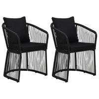 vidaXL Chaises de jardin 2 pcs et coussins et oreillers Rotin PVC Noir