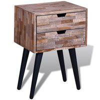 vidaXL Table de chevet avec 2 tiroirs Bois de teck recyclé