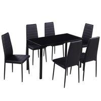 vidaXL Ensemble de table à manger sept pièces noir
