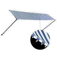 vidaXL Auvent rétractable avec LED 400x150 cm Bleu et blanc