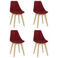 vidaXL Chaises de salle à manger 4 pcs Rouge bordeaux Velours