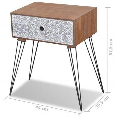 vidaXL Tables de chevet avec tiroir 2 pcs Marron, Brun