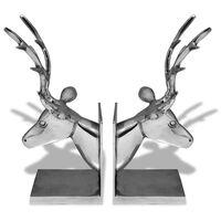 vidaXL Serre-livres cerf 2 pièces Aluminium Argenté